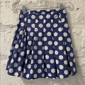 Mini Boden Muted Blue Polka Dot Pleated Skirt